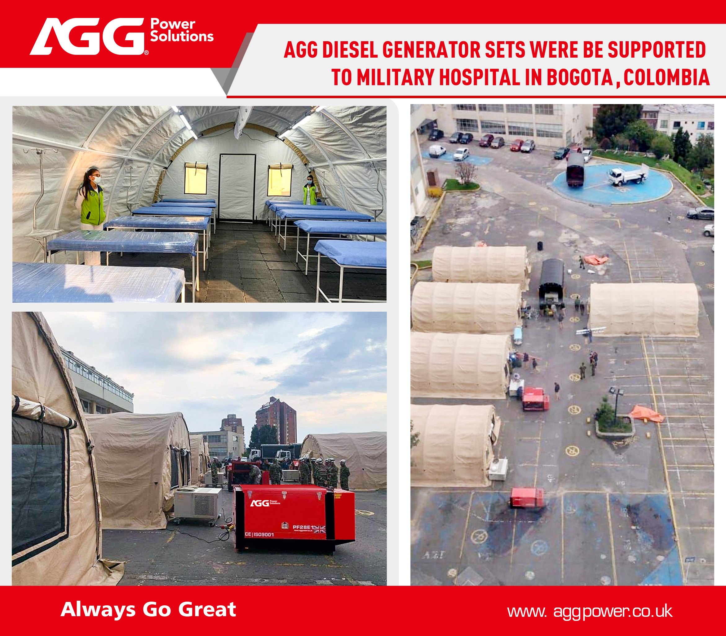AGG Diesel Generator sets were be supported to Military Hospital in Bogota, Colombia